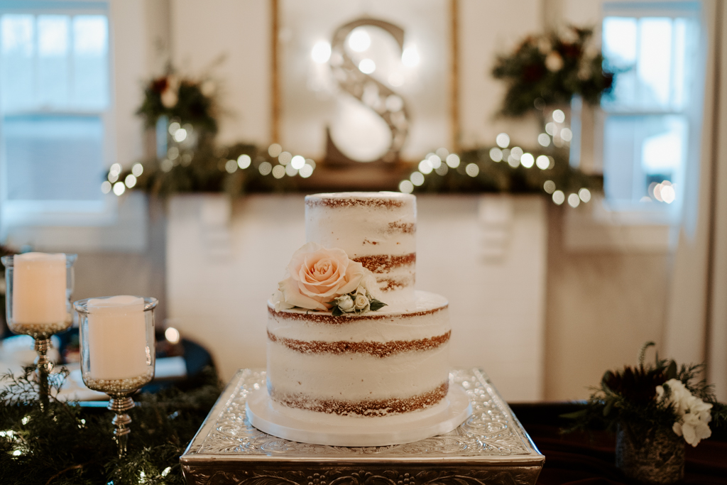 bare red velvet wedding cake