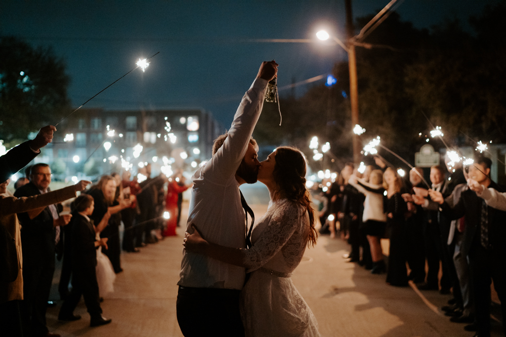 sparkler exit from wedding with mistletoe